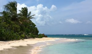 Panorama of the gorgeous white sand filled Flamenco beach on the Puerto Rican island of Culebra.