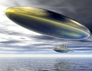 digital visualization of a surrealistic steamer airship