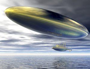 digital visualization of a surrealistic steamer airship