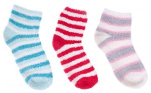 collection of warm and colorful socks isolated on white background